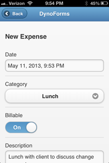 Mobile Form - Expenses