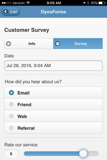 Mobile Form - Customer Survey